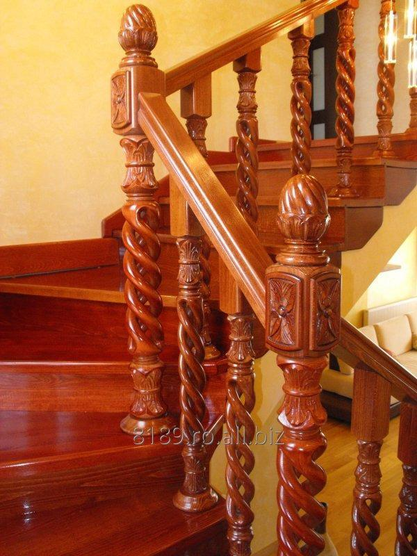 cumpără SCARA DE LUX din lemn masiv cu balustrada tip spirala