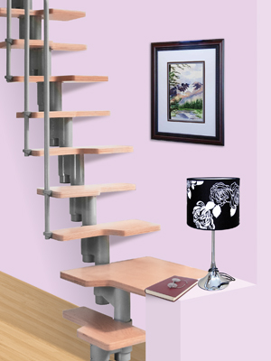 cumpără Scară modulară cu balustradă şi paşi decalaţi, pentru spaţiu redus.