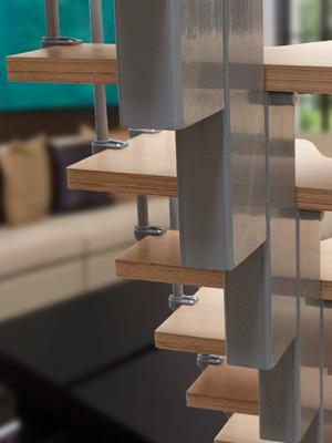 cumpără Scară dreaptă modulară cu balustradă şi paşi decalaţi, pentru spaţiu redus.