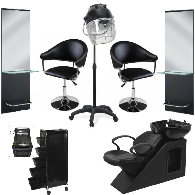 Scaune Salon Coafura.Dotare Salon Complet Coafor Black 2