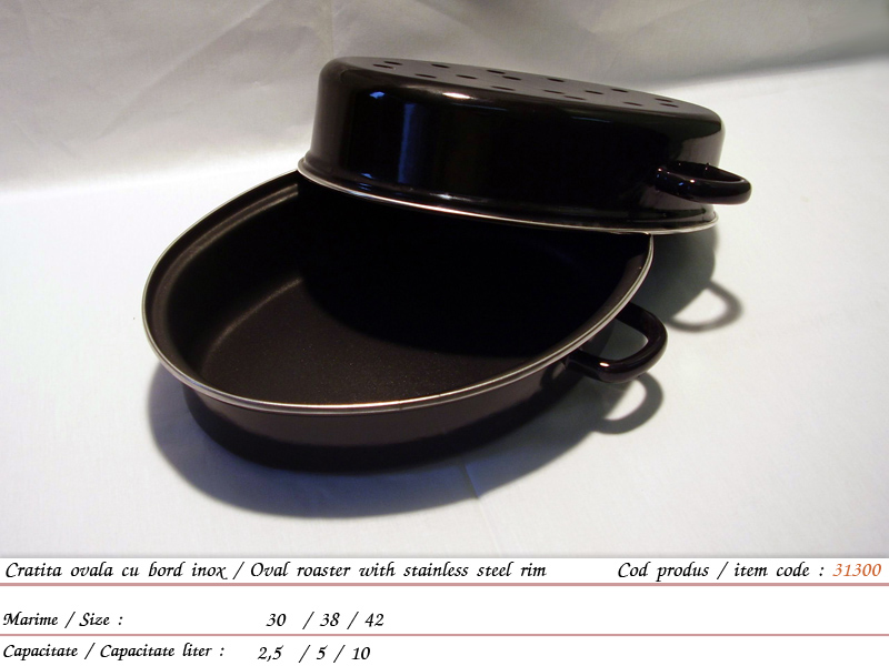 cumpără Cratita ovala cu bord inox