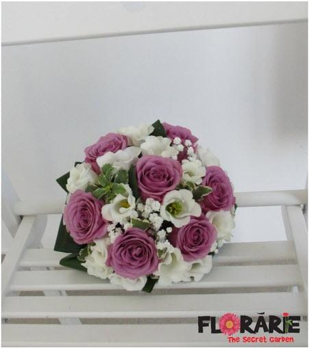 Buchet De Mireasa Din Trandafiri Mov Lisianthus Alb Si Floarea