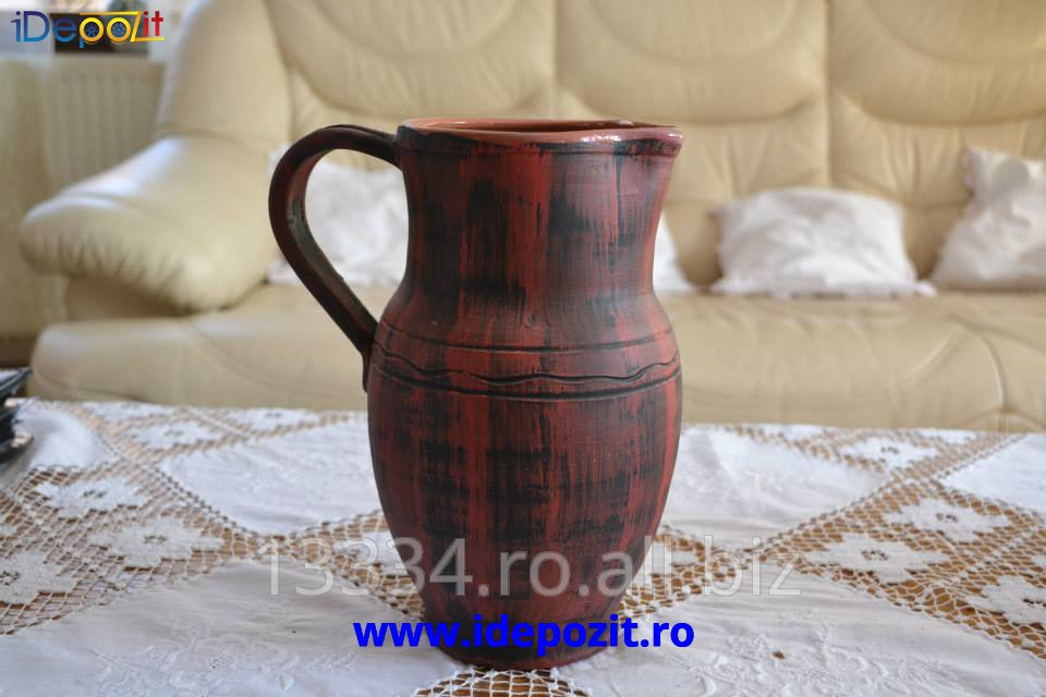 cumpără Carafa de vin, 1L, traditionala romaneasca, lucrata manual de catre mesterii populari din Horezu
