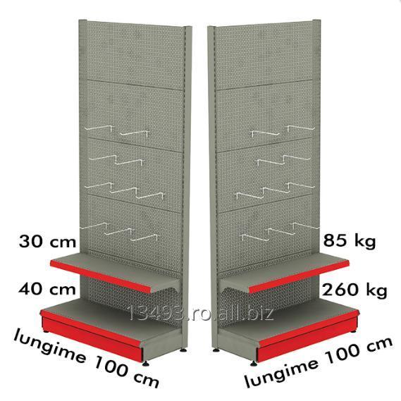 cumpără Raft metalic de perete cu carlige 100*200 baza 40 cm si 1 polita