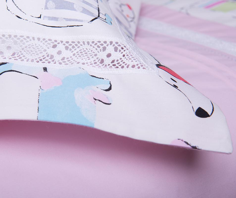 cumpără Lenjerie de pat pentru copii, din bumbac 100%, culoare roz, model Momo (0-3 ani)