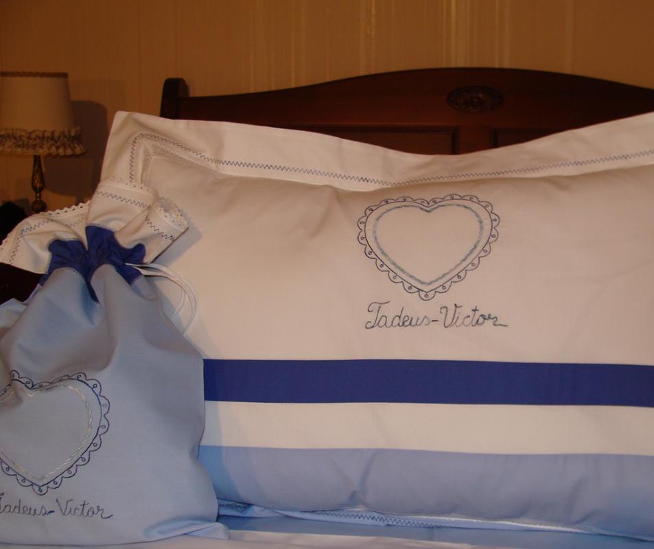 cumpără Lenjerie de pat pentru copii cu pled de vara, personalizata, bumbac 100%, culoare bleu, 130x150 cm - LNJ-34