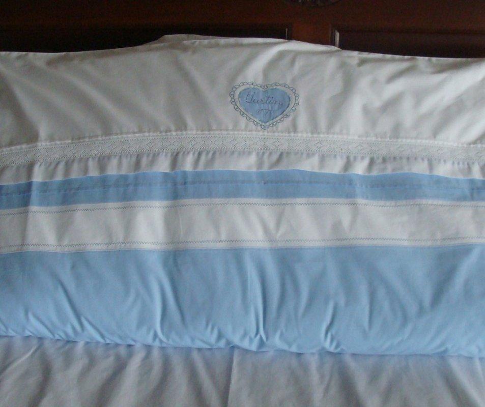 cumpără Set lenjerie de pat cu pilota pentru copii, personalizata, bumbac 100%, culoare bleu, 130x150 cm - LNJ-36