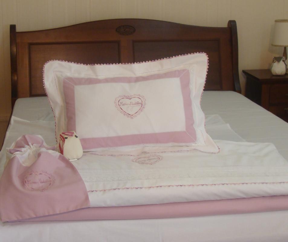 cumpără Set lenjerie de pat cu pilota pentru fete, personalizata, bumbac 100%, culoare roz, 130x150 cm - LNJ-37