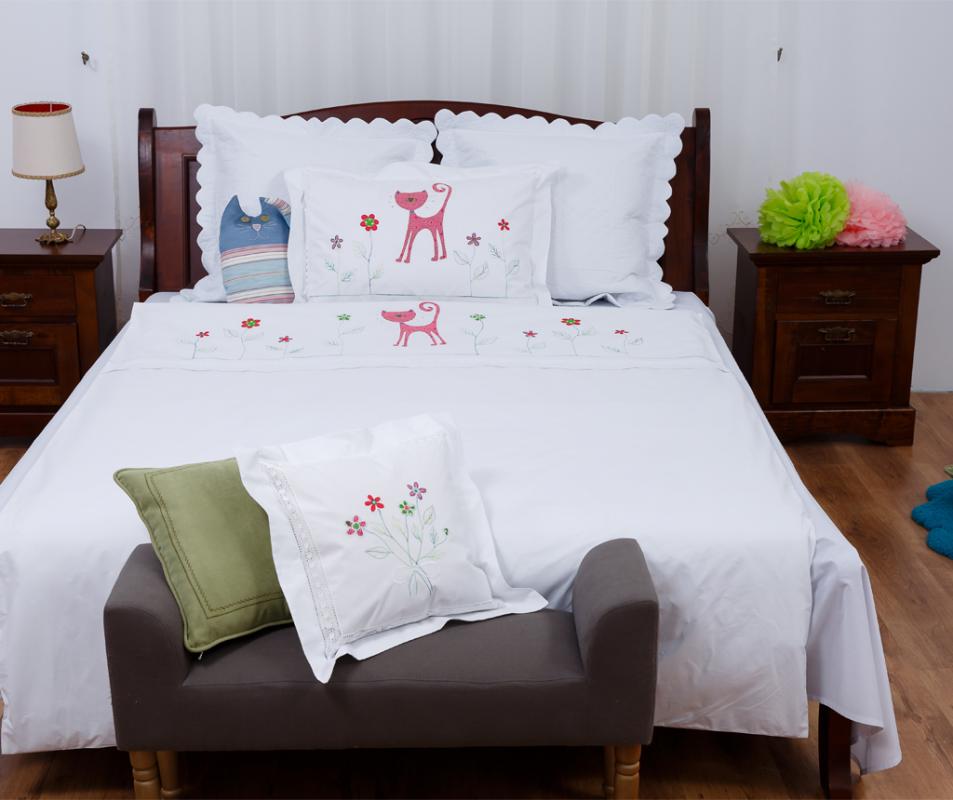 cumpără Set lenjerie de pat pentru copii, model Pisică Roșie - LNJ-83