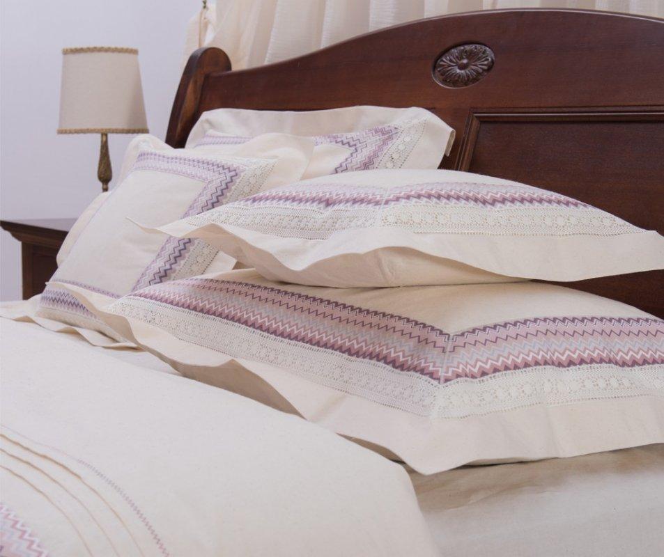 cumpără Lenjerie de pat din bumbac 100%, culoare natur, model Zig Zag, 240x240 cm - LNJ-68