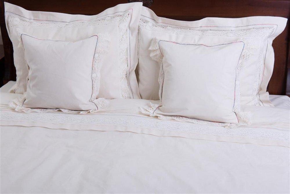 cumpără Lenjerie de pat, 6 piese, bumbac 100%, culoare natur cu dantela, 240x240 cm