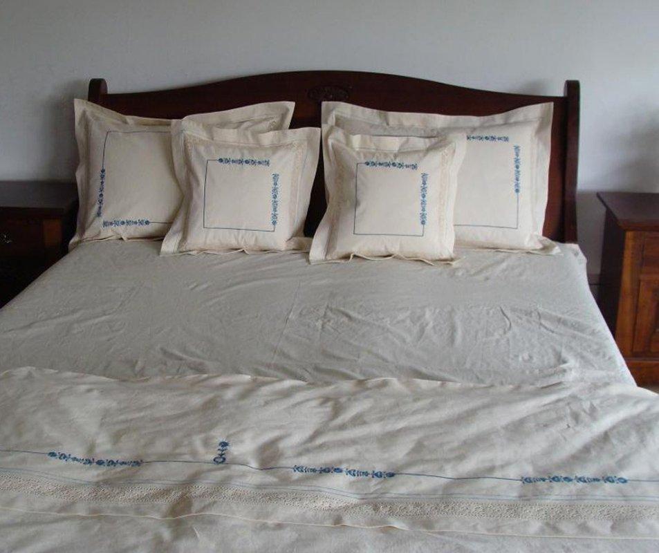cumpără Lenjerie de pat din bumbac 100%, culoare alba cu model rustic, 240x240 cm - LNJ-48