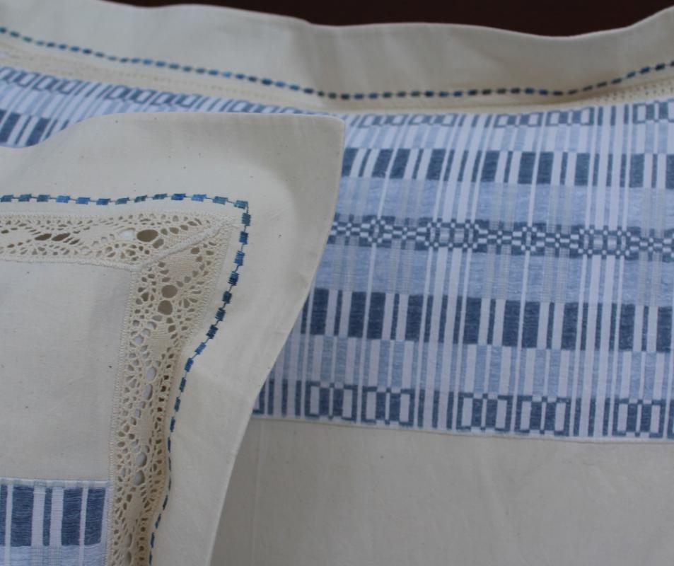 cumpără Lenjerie de pat din bumbac 100%, culoare natur cu model bleumarin, 240x240 cm - LNJ88