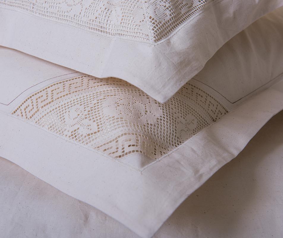 cumpără Lenjerie de pat din bumbac 100% ecologic, culoare natur, cu insertie din dantela, 240x240 cm - LNJ-63