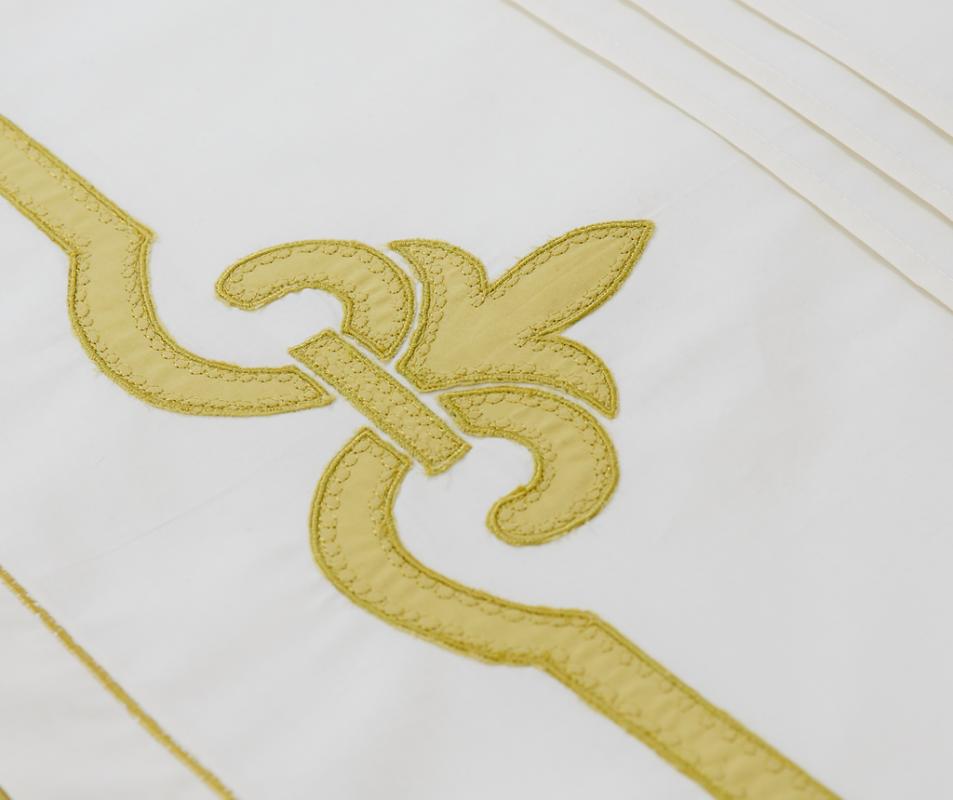 cumpără Lenjerie de pat din bumbac 100%, culoare alb-verde, cu medalion - LNJ-78
