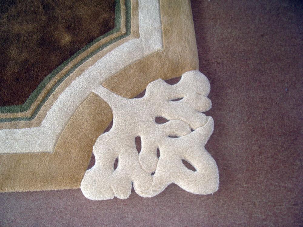 cumpără Covor de lana pătrat, culoare alb-maro, model cu broderie - 85
