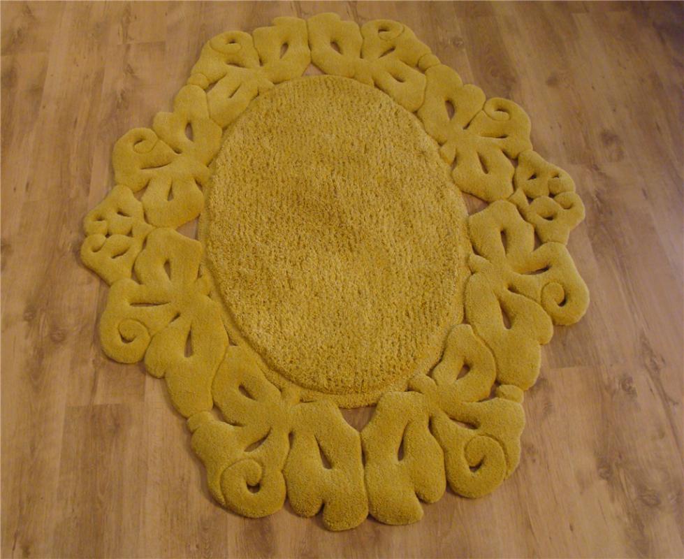 cumpără Covor de lana oval, galben, model dantelat - 73