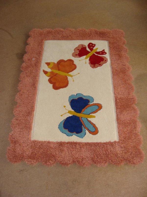 cumpără Covor de lana pentru camera copiilor, model fluturi, multicolor - 66