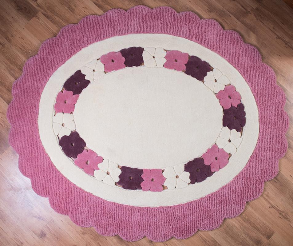 cumpără Covor de lana pentru camera copiilor rotund, model cu flori, culoare roz - 15