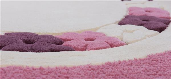 cumpără Covor de lana pentru camera copiilor, culoare roz, model frunză - 64