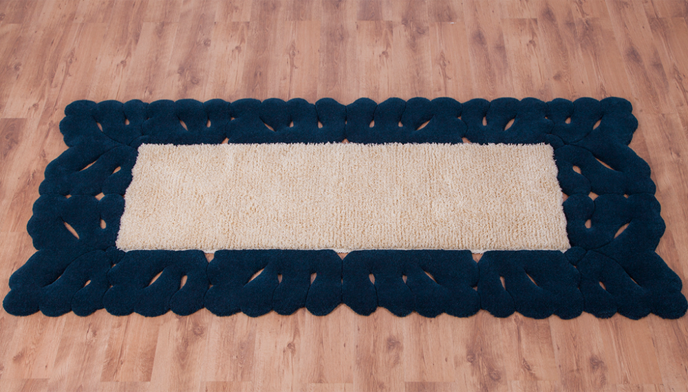 cumpără Traversă lana, culoare albastru-bej, model dantelat, 275x120 cm - 137