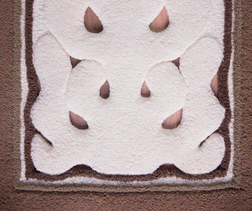 cumpără Traversă lana, culoare maro, model dantelat - 13
