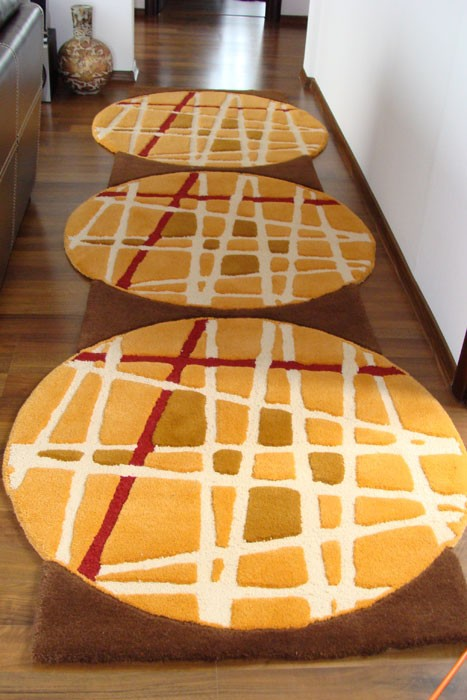 cumpără Traversă lana, culoare portocalie, model cu cercuri - 56