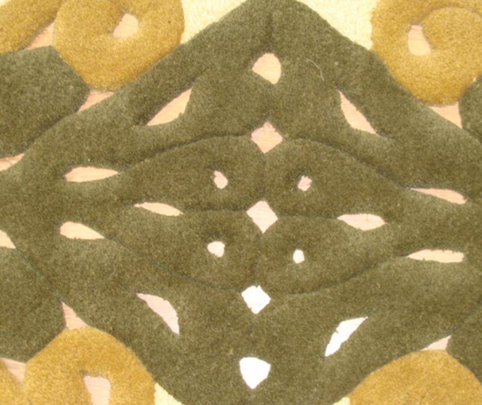 cumpără Traversă hol din lana, formă ovală, culoare alb-maro, model baroc - 58