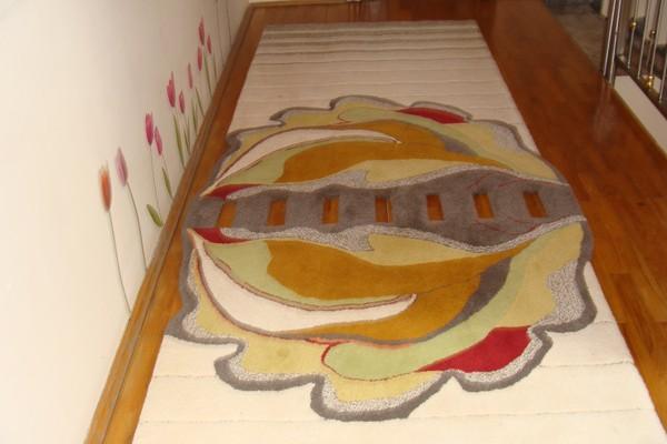 cumpără Traversă hol din lana, multicoloră, model floare de nufăr - 60
