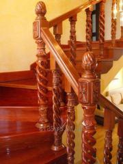 SCARA DE LUX din lemn masiv cu balustrada tip spirala