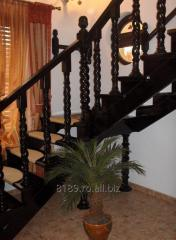 SCARA DE LUX pe schelet din lemn cu balustrada tip spirala