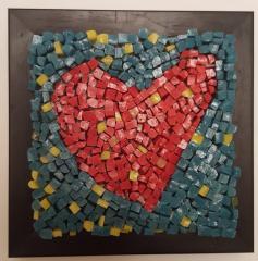 Mozaic sticla, decoratiune - Inimioara 3