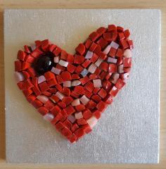 Mozaic sticla, decoratiune - Inimioara 2