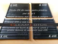 Plăcuțe CFR din cauciuc pentru prinderea șinei de tip K