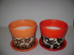 Ghiveci si farfurie din acrilic colorat