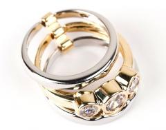 Inel format din 2 verighete placate cu aur