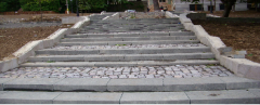 Spiral stairs with stone steps