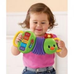 Mini acordeon Green Caterpillar pentru copii