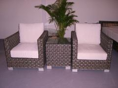 Furniture made of artificial rattan