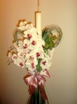 Lumanare botez Phalaenopsis si plante verzi