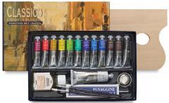 Set culori in ulei - 12 tuburi + auxiliare
