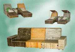 Rustic wood sofa 2 in 1