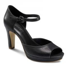 Sandale dama din piele cu toc negre Oshima