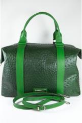 Geanta de voiaj verde din piele de strut