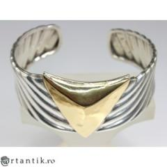 Bratara modernista argint & aur 18 k. designer Sacco Attilio. Italia