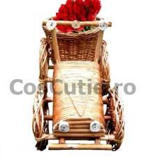 Decoratiune de gradina Tractor din rachita si lemn
