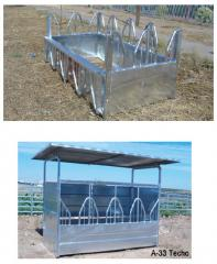 Systems with a single access for feeding cattle