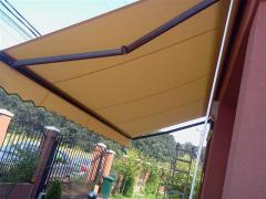 Awnings with falling elbow
