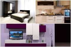 Dormitor, bucatarie, living