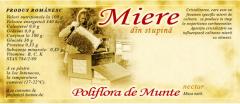 Eticheta Miere din stupina, Poliflora de munte